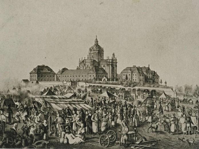 Святоюрський ярмарок на літографії Лянге середини XIX сторіччя