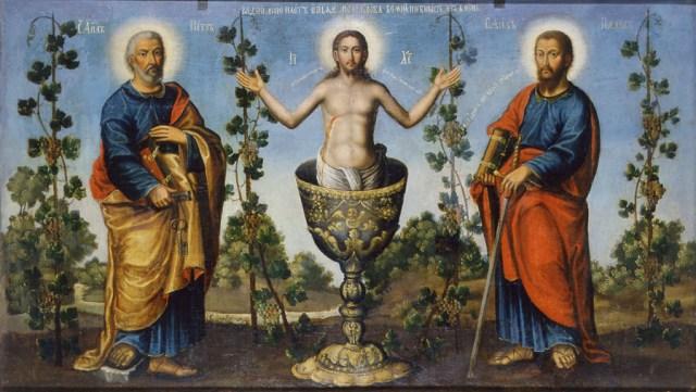 Народна ікона з зображенням Ісуса та апостолів Петра і Павла, Національний художній музей України, м. Київ