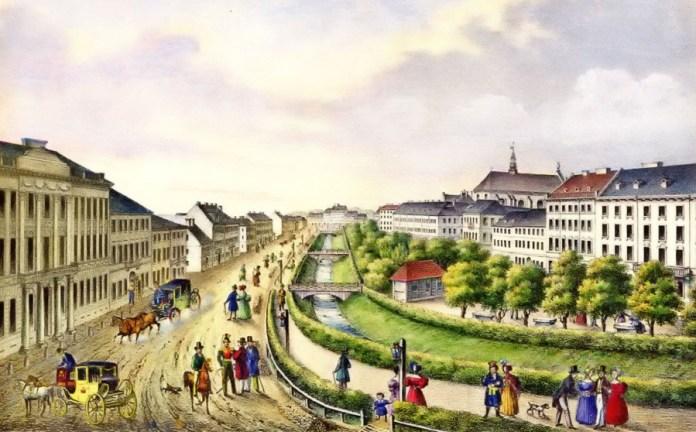 """Літографія Карла Ауера """"Нижні Вали"""" (тепер просп. Свободи)(1837-1838)"""