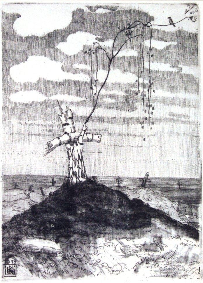 """Олена Кульчицька """"По війні. Життя перемагає"""", 1915 рік, півкартон, офорт, акватинта, 17Х12,3"""