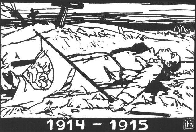 """Олена Кульчицька """"Полеглий стрілець"""", 1915 рік (із циклу """"УСС 1914-1915""""), папір, дереворит, 20,3Х29,4"""