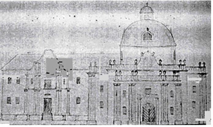 Монастир Кармеліток із Костелом св. Агнєшки. Станом на 1820-ті роки