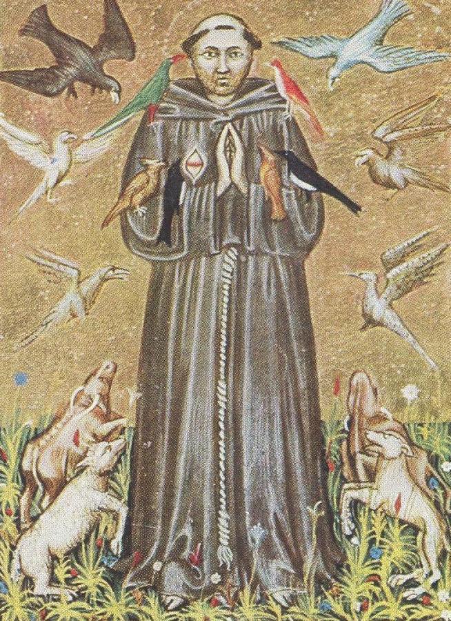 Франциск Ассизський. Мініатюра XIV століття, Національна бібліотека в Римі