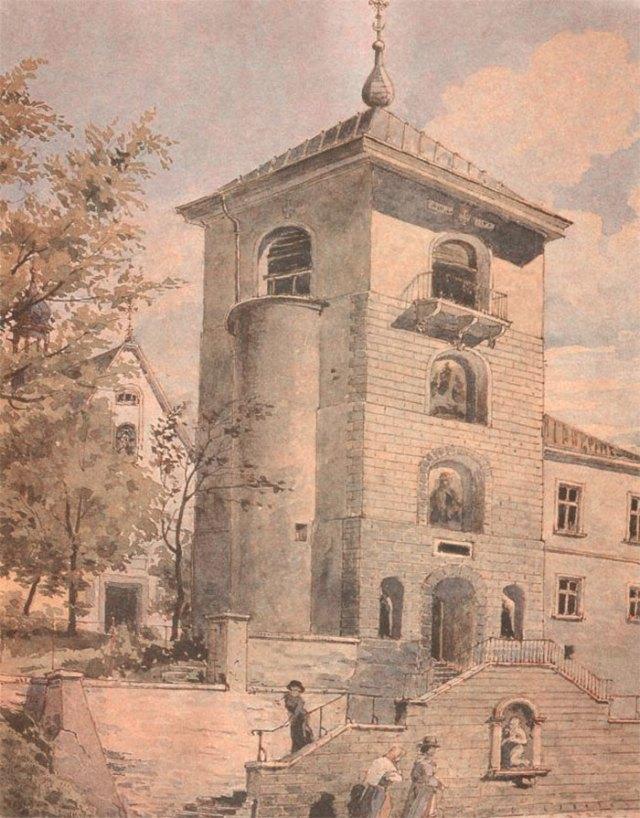 Монастир св. Онуфрія. Дзвіниця. Акварель А.Каменобродського. Поч. XX ст. ЛІМ