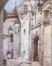 Східне подвір'я Вірменського собору. Акварель А.Каменобродського. Поч. XX ст. ЛІМ