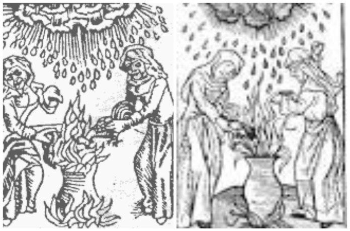 Відьми викликають дощ, гравюра XV століття