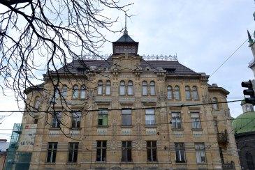 Будинок товариства Дністер. Фасад. Карпатські мотиви, фото 2015 року.