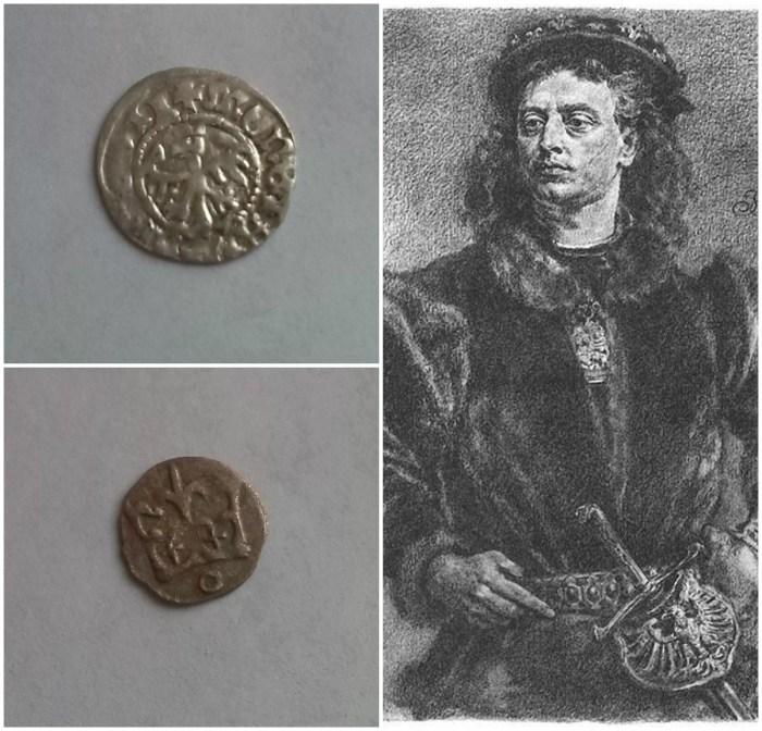 Король Ян Ольбрахт (1492 - 1501 рр.), Півгрош Ольбрахта (зверху), денарій (знизу)