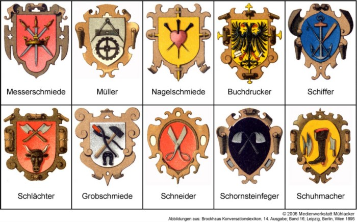 Герби німецьких ремісничих цехів. В правому нижньому куті - шевців.