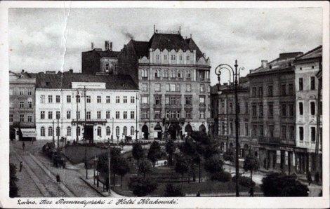 """Львів пл. Бернардинів, готель """"Краківський"""", фото 1930 р"""