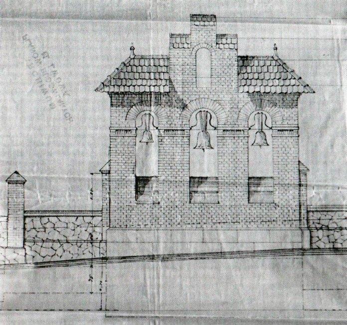 Проект дзвіниці Костелу Св. Івана Хрестителя авторства І. Левинського.