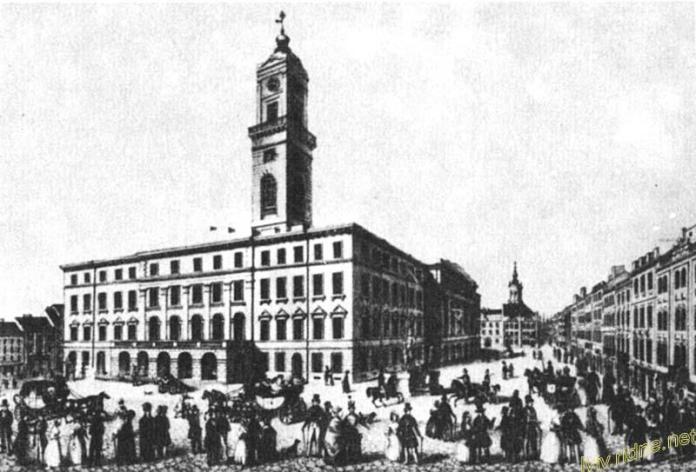 Львівська ратуша, де не лише засідала управлінська верхівка, а й де тримали злочинців (зображення перед 1848 роком)
