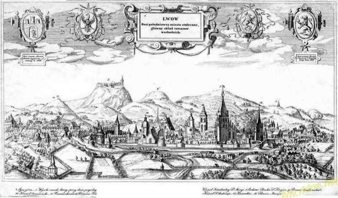 Панорама міста Львова на гравюрі XVII сторіччя