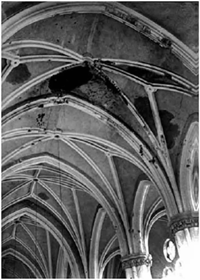 Вигляд однієї зі стін святині храму св. Ельжбєти у Львові перед початком реставраційних робіт (1991 р.).