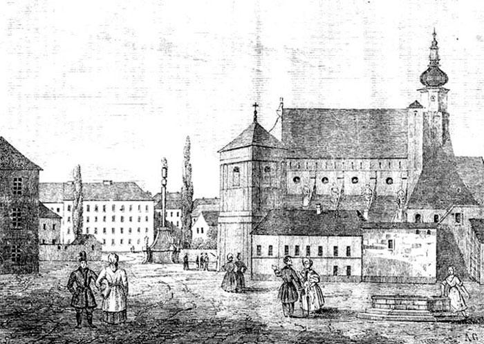 """Бернардинський дворик. Тижневик """"Przyjaciel Ludu"""" (Гравюра 1837 року)"""