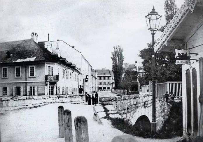 Львів, Місток через Полтву на вулиці Святого Яна (пр. Шевченка). Фото 1860-1870-х років.
