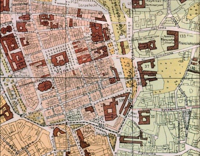 Фрагмент плану міста Львова з позначеним на ньому сквером поруч Успенської церкви та Королівського арсеналу. План 1890 року.