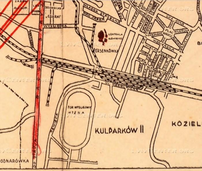 Третій львівський іподром на Персенківці на плані міста Львова 1936 року.