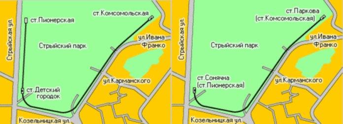 Схема розташування станцій Дитячої залізниці в Стрийському парку до і після 1976 року.