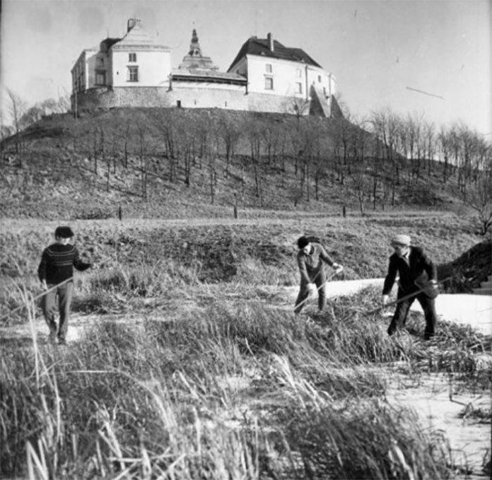 Підготовка до відкриття Олеського замку, фото 1970-х років