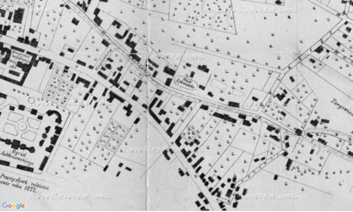 План міста Львова 1877 року, на котрому позначений Лижв'ярський став - одна з перших облаштованих ковзанок у Львові