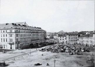 Торгові ятки на площі Краківській (Я.Осмомисла). Фото 1860-1870 рр.