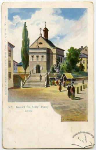 Церква Марії Сніжної та скульптура Богоматері поруч із нею. Листівка 1900-1901 рр.