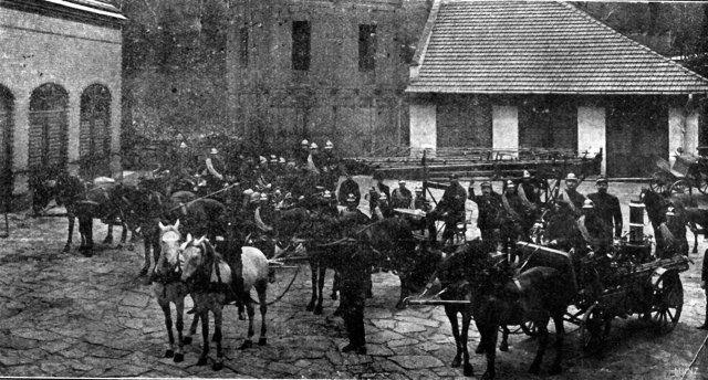 Спорядження пожежної команди на кінній тязі, початок XX ст.