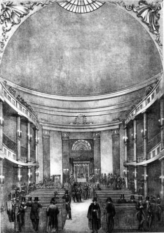 Внутрішній інтер'єр новозбудованої синагоги реформістів на пл. Старий Ринок. Літографія 1846 р.