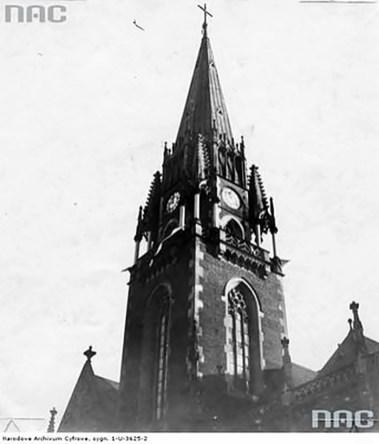 Вежа Церква святих Єлизавети та Ольги (колишній костел Єлизавети), фото 1930 -х рр. з NAC