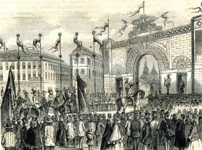 Трімфальна арка на площі Міцкевича під час візиту Франца Йосифа в 1851 році. Рис. 1850-х рр.