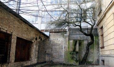 Заштукатурений фрагмент муру на вул. Вузькій, 8