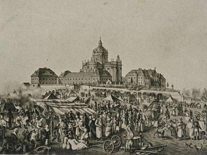 Святоюрські ярмарки, зображені А.Лянге. Літографія 1844 року