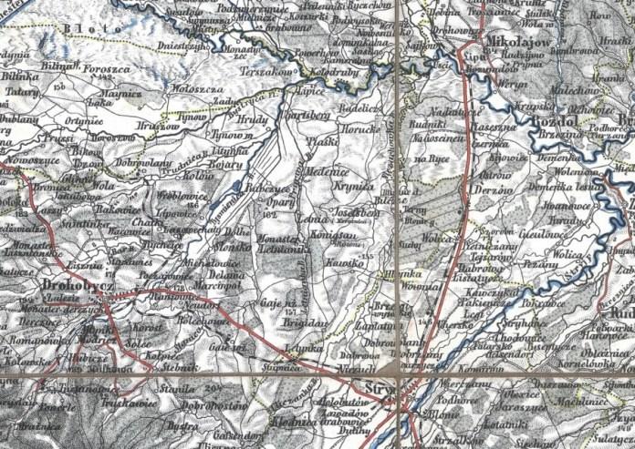 Мапа 1875 року, де поруч з назвою Кьонігсау фігурує назва Рівне.