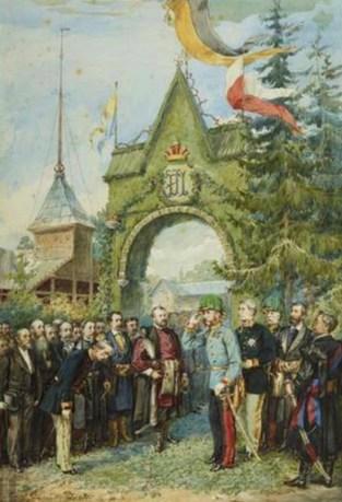 Імператор Франц Йосиф біля тріумфальної арки під час відвідин Крайової лісної школи в 1880 році. Рис. 1880-х років