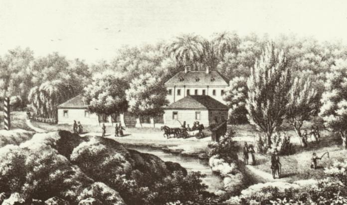 Літографія К.Ауера із зображення пивного саду на Погулянці. Літографія 1840 року