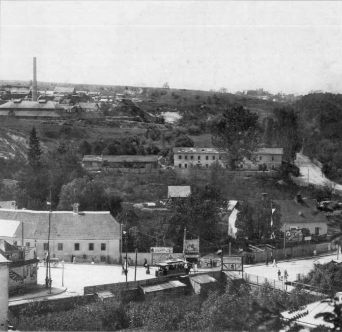 Місце розташування первісної Стрийської рогатки. Фото 1894 року