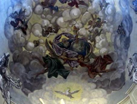Земля поряд із Богом та ангелами, котрі її утримують. Латинська катедра