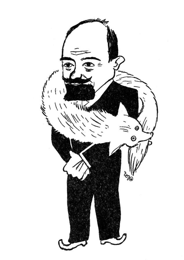 Знали кому дати: Проф. Олександер Колесса, відомий зі свого дипломатичного хисту, виграв при льосуванні нагород «Діла» срібного лиса. (На додаток пасту «Елєґант» на бороду). Рис. Р. Чорнія