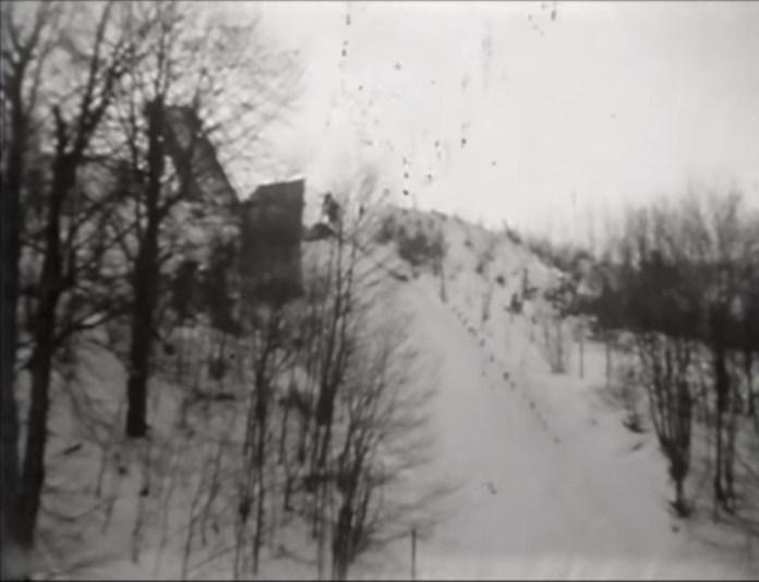 Трамплін на Погулянці. Кадр з відеозапису 1970-х рр.