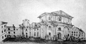Графічне зображення монастиря тринітаріїв, на руїнах котрого збудовано храм Преображення Господнього
