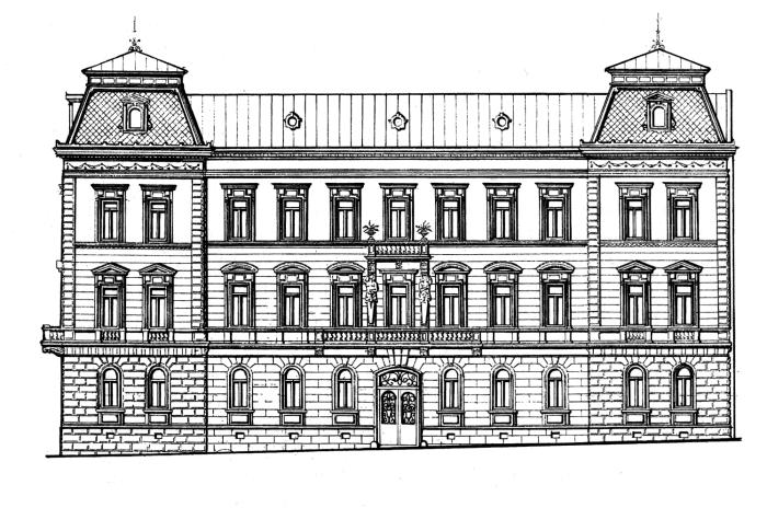 Проект будинку № 1 на сучасній вулиці Крушельницької у Львові. Збудований 1885 року.