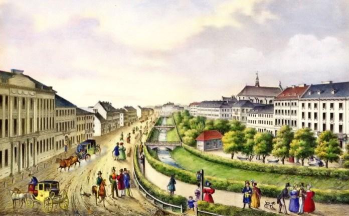 Літографія К.Ауера на котрій зображено вигляд проспекту Свободи в першій половині XIX ст.