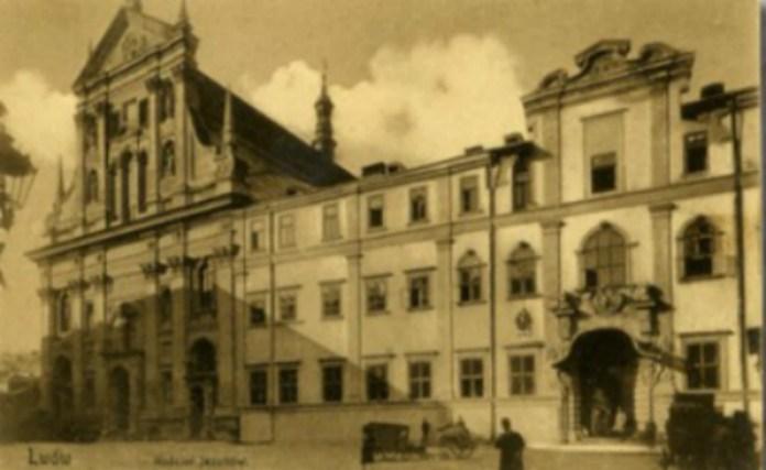 Костел єзуїтів на поштівці 1908 - 1909 років. Фото з poshtivka.com