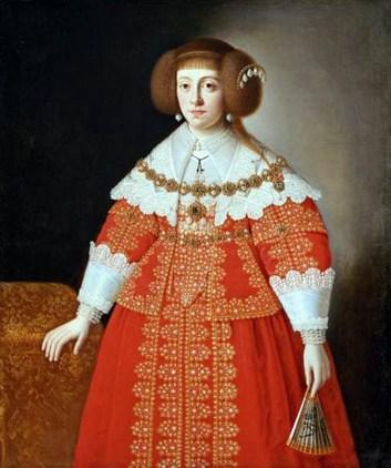 Цецелія Рената – дружина Владислава ІV. На картині зображена пишна сукня, для ефекту під спідницю вкладали спеціальні вставки. Всі панянки намагалися дотримуватися такого прикладу. Бл. 1642 р.