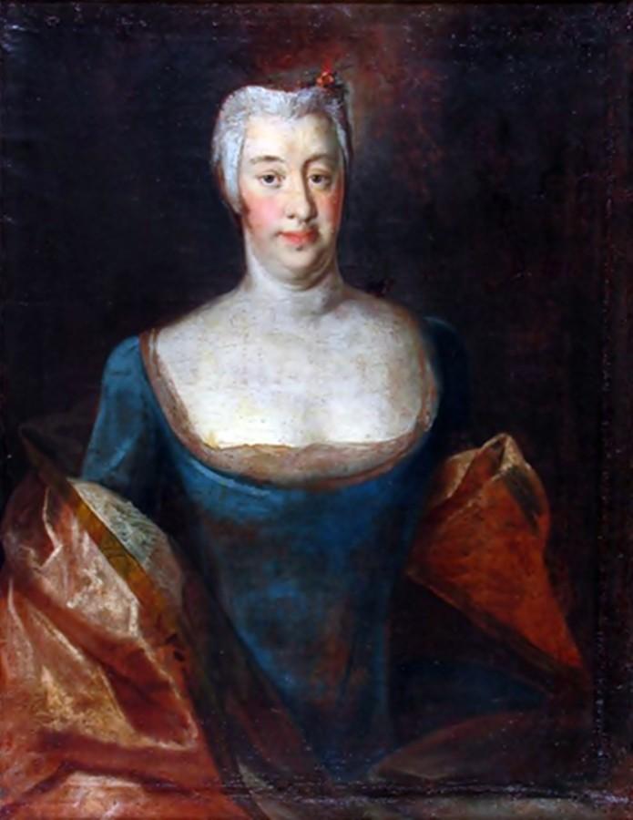 Анна Любомірська. Чітко виражене декольте. 1759 р.