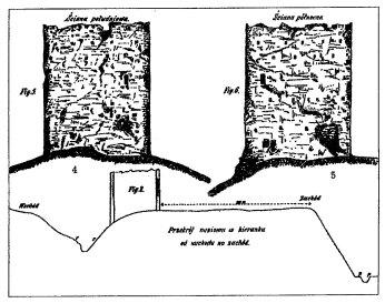 П'ятничанська вежа. Графічне зображення за Б.Густавичем. 4 - вигляд із півдня; 5- вигляд із півночі