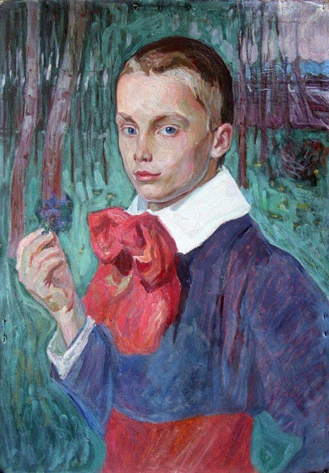Олекса Новаківський. Хлопчик з фіалками (Портрет Романа Гогульського), 1909 р.