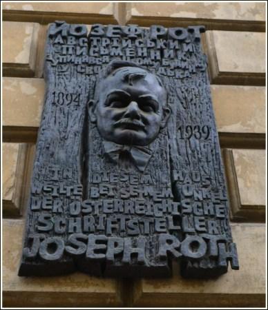 Меморіальна таблиця пам'яті Йозефа Рота – вулиця Чехова, 7 (фото Тетяна Жернова, 2016р)