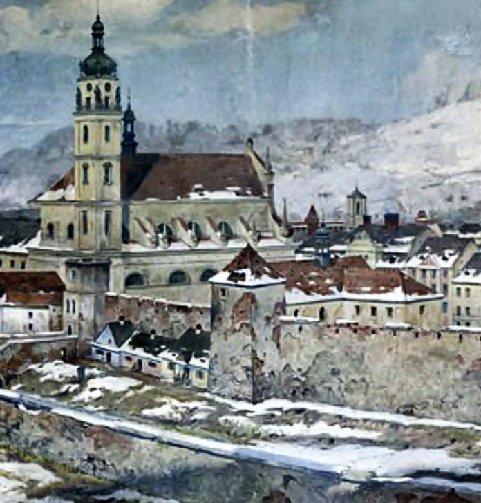 Вигляд костелу з майже стометровою вежою. Літографія початку 19 ст.